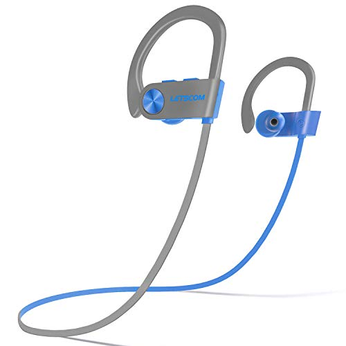 LETSCOM Bluetooth Headphones IPX7 Waterproof, Wireless Sport Earphones, Hifi Bass Stereo Sweatproof Earbuds...
