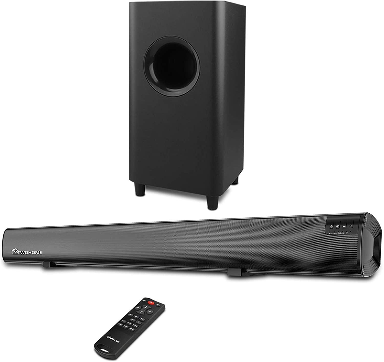Sound Bar,Wohome 2.1 channel 120W TV Soundbar,5.5-inch Subwoofer,34 inch wired & Wireless 5.0 Bluetooth Speaker